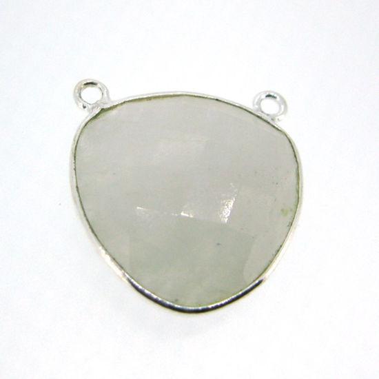 Wholesale Bezel Gemstone Connector Pendant - Moonstone - Sterling Silver - Large Trillion Shaped Faceted - 18 Mm