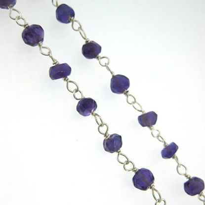 Wholesale Sterling Silver Amethyst Rosary Chain By the Foot