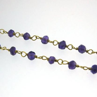 Wholesale Gold over Sterling Silver Amethyst Quartz Rosary Chain By the Foot