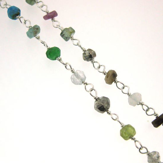 Wholesale Sterling Silver multi stone Rosary Chain By the Foot