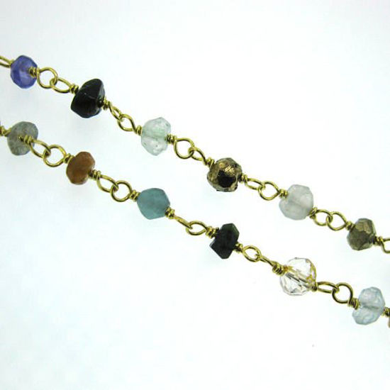 Wholesale Gold over Sterling Silver multi stone Rosary Chain By the Foot