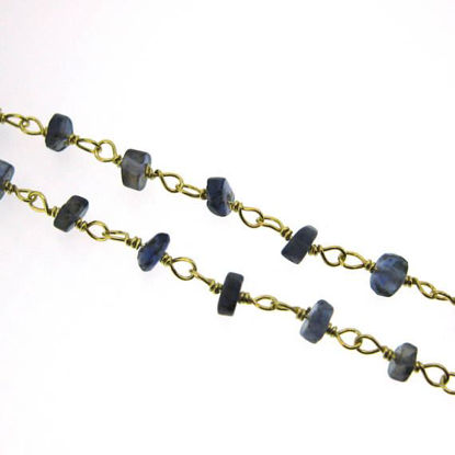 Wholesale Gold over Sterling Silver Iolite Rosary Chain By the Foot