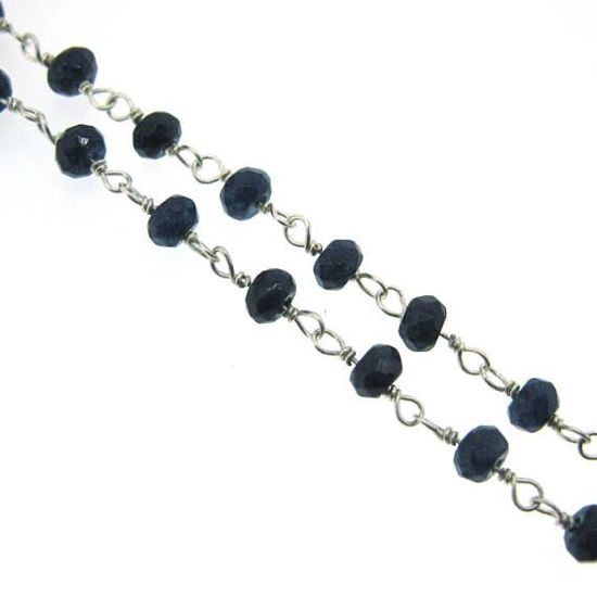 Wholesale Sterling Silver Blue Sapphire Rosary Chain By the Foot