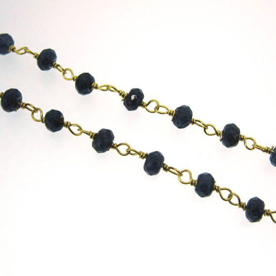 Wholesale Gold over Sterling Silver Blue Sapphire Rosary Chain By the Foot