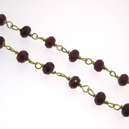 Wholesale Gold over Sterling Silver Ruby Rosary Chain By the Foot