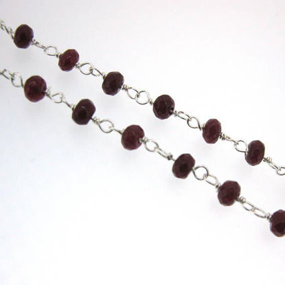 Wholesale Sterling Silver Ruby Rosary Chain By the Foot