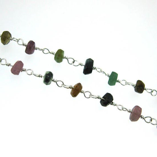Wholesale Sterling Silver Multi Tourmaline Rosary Chain By the Foot