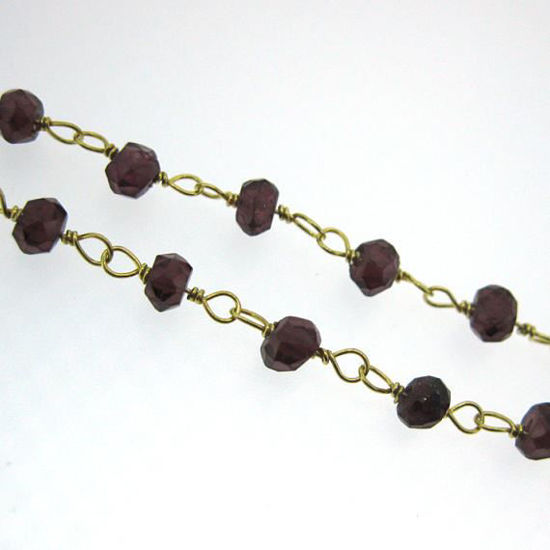 Wholesale Gold over Sterling Silver Garnet Rosary Chain By the Foot