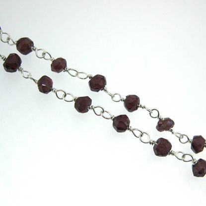Wholesale Sterling Silver Garnet Rosary Chain By the Foot