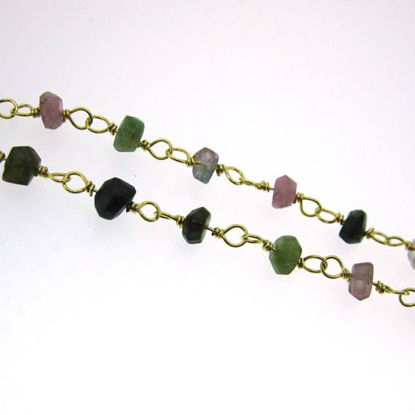 Wholesale Gold over Sterling Silver Multi Tourmaline Rosary Chain By the Foot