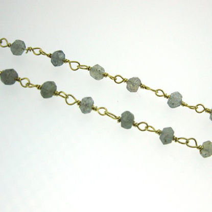 Wholesale Gold over Sterling Silver Labradorite  Rosary Chain By the Foot