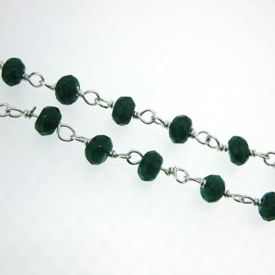 Wholesale Sterling Silver Emerald Rosary Chain By the Foot