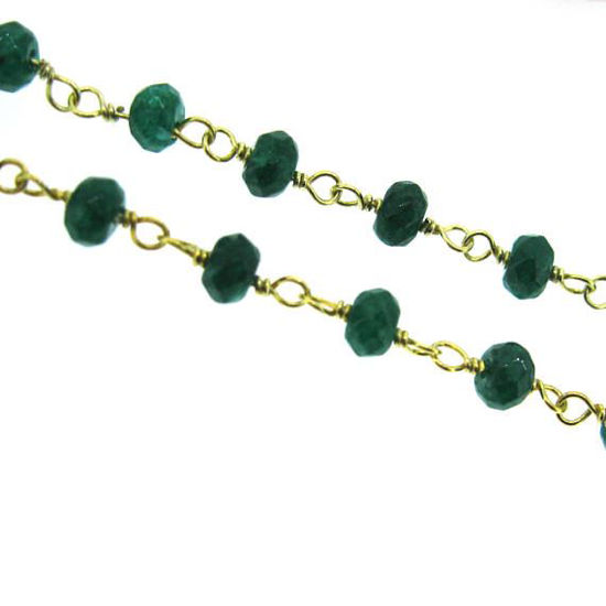 Wholesale Gold over Silver Emerald Rosary Chain By the Foot