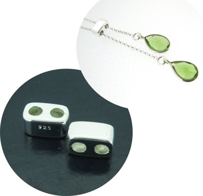 Wholesale Sterling Silver Sliding Beads with Silicone - Double Hole Stopper Beads (1 piece)