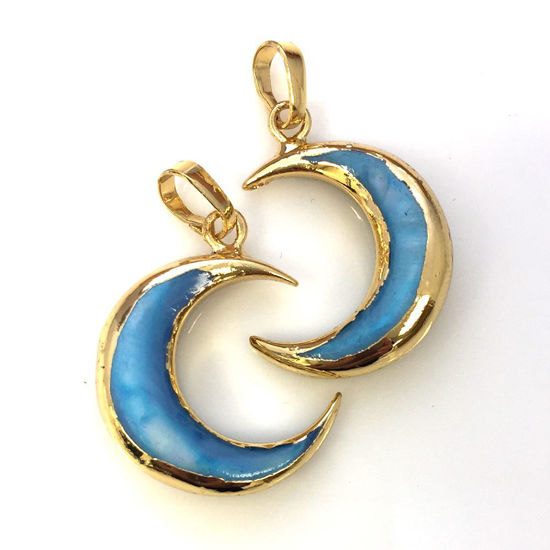 Crescent moon shell pendant natural gemstone pendants wholesale wholesale natural shell crescent moon pendant blue shell gold dipped edging and bail aloadofball Image collections