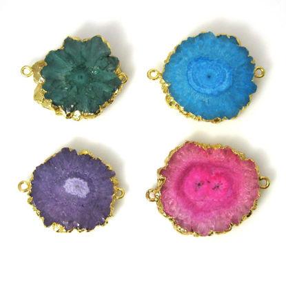 Wholesale Gold or Silver Plated Rainbow Solar Quartz Connector Double Bails Quartz Jewelry