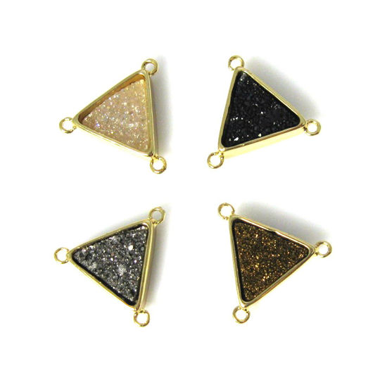 Wholesale Gold or Silver Plated Triangle Natural Agate Titanium Druzy Connector Triple Bails