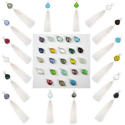 Wholesale Sterling Silver Teardrop Bezel Gemstone Tassel - Tassel Charm - 88mm