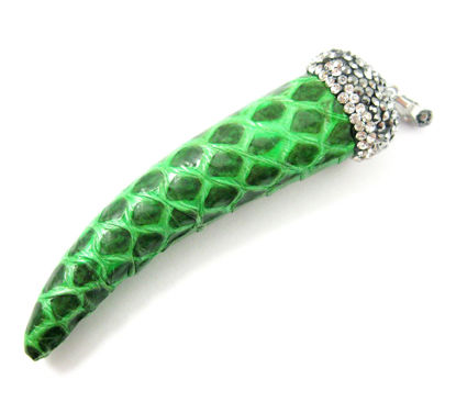 Wholesale Natural Jasper Leather Wrapped Tusk Pendant - Green Leather with Pave Bail - 70mm