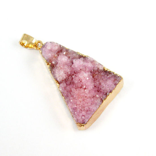 Wholesale Druzy Triangle Pendant, Pink Druzy Agate Pendant- Gold plated Brass Edge and Bail