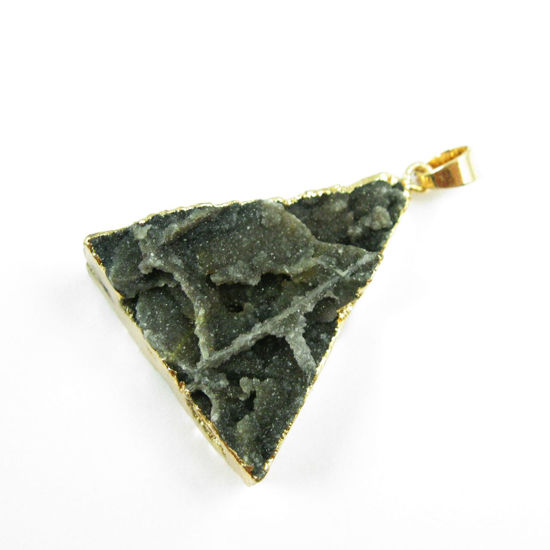 Wholesale Druzy Triangle Pendant, Dark Druzy Agate Pendant- Gold plated Brass Edge and Bail