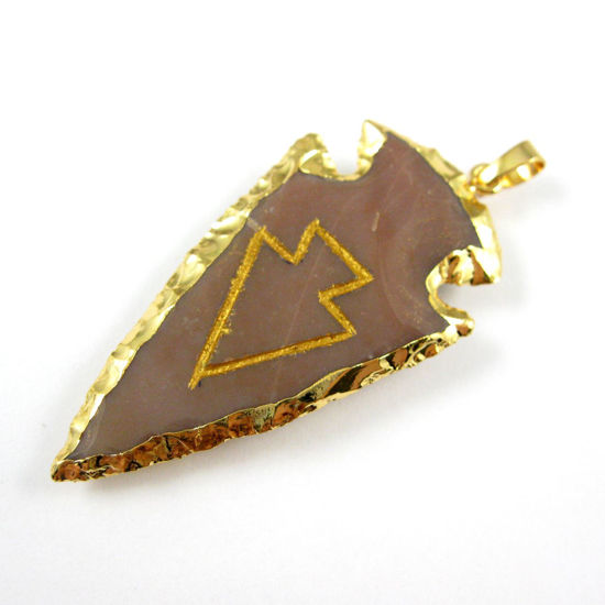 Wholesale Druzy Natural Agate Jasper Green Arrowhead Pendant, Jagged Spear Shaped Pendant with 24K Gold Dipped Edging,Unique Nature Stone Pendant