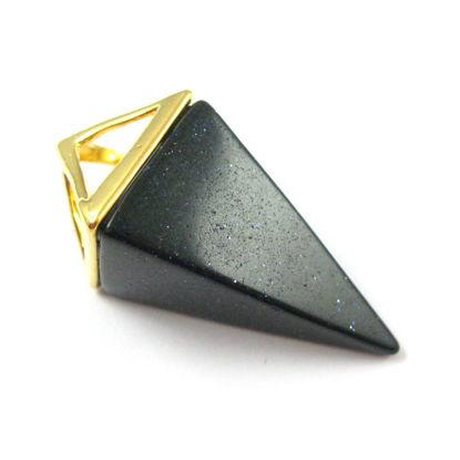 Wholesale Druzy Gemstone Black Agate Triangle Spike Pendant Wholesale Pendants for Jewelry Making