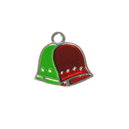 Wholesale Sterling Silver Enamel Bells charm, Christmas Charm