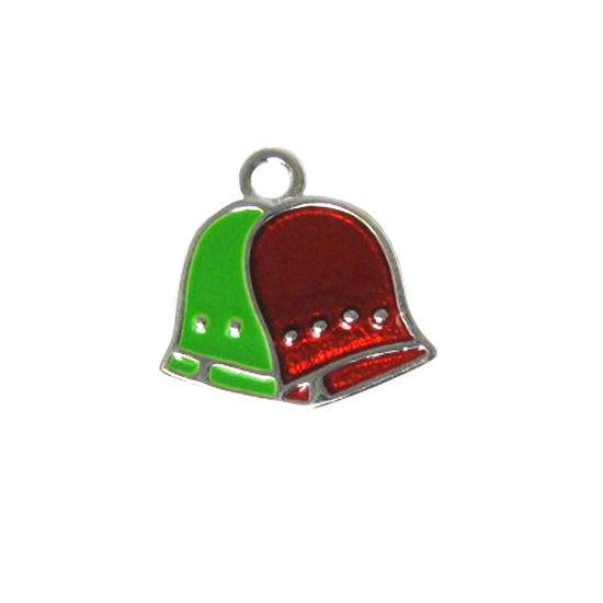 Wholesale Sterling Silver Enamel Bells charm, Christmas Charm
