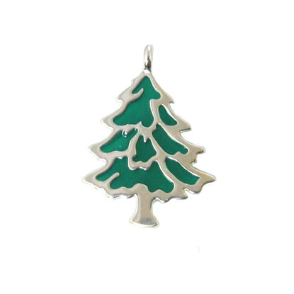 Wholesale Sterling Silver Enamel Christmas Tree Charm