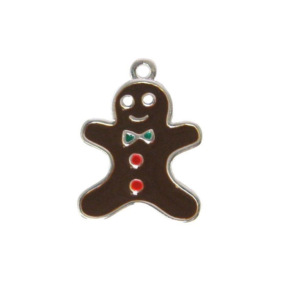 Wholesale Sterling Silver Enamel Gingerbread Man Charm, Christmas Charm