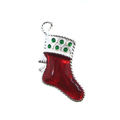 Wholesale Sterling Silver Enamel Christmas Stocking Charm, Holiday Charm (1 pc)