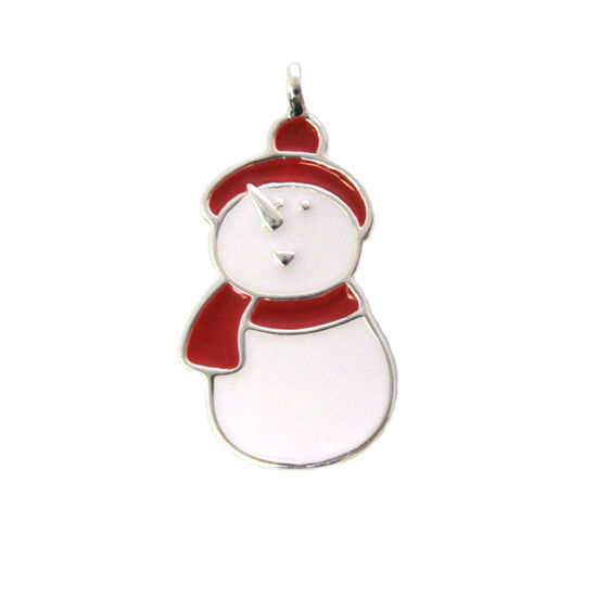 Wholesale Sterling Silver Enamel Snowman Charm, Christmas Charm (1 pc)
