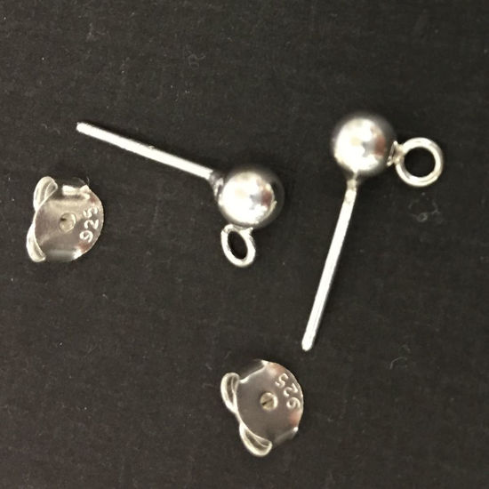 Wholesale Sterling Silver Simple Earring Studs with Ring (1 pair)