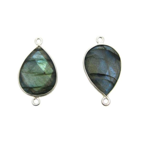 Wholesale Sterling Silver Bezel Gemstone Links - Large 13x18mm Faceted Pear Shape - Labradorite