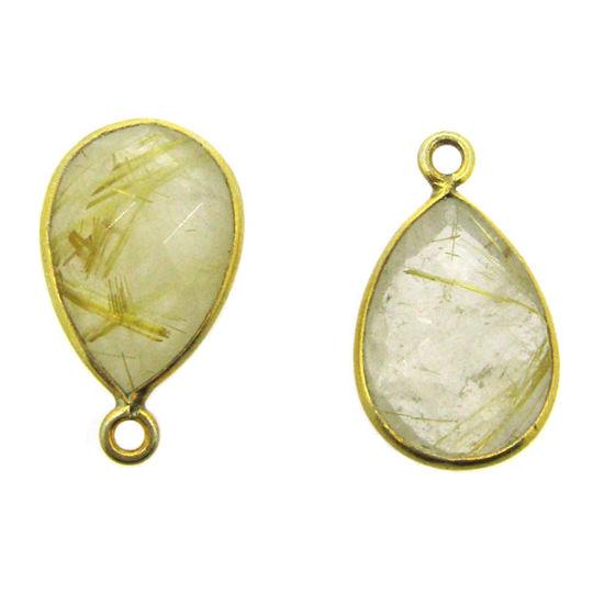 Wholesale Gold plated Sterling Silver Small Teardrop Bezel Iolite Quartz Gemstone Pendant, Wholesale Gemstone Pendants for Jewelry Making