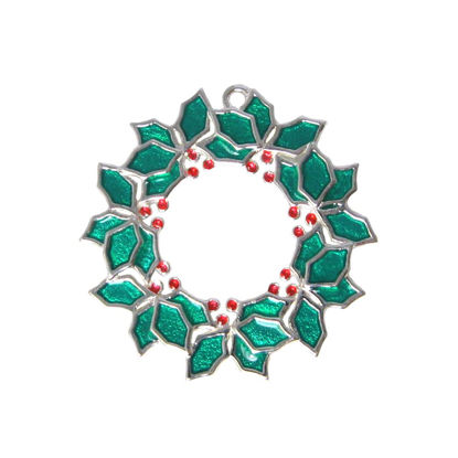 Wholesale Sterling Silver Enamel Christmas Wreath Charm, Holiday Charm