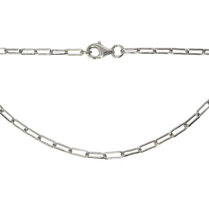 Wholesale Rhodium Plated Sterling Silver Finished Chain - Rectangle Link - Long Box Chain