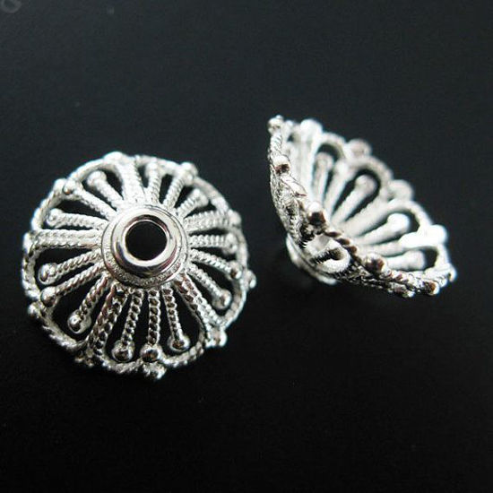 Wholesale 925 Solid Sterling Silver Bead Caps 14mm ( 2pcs)