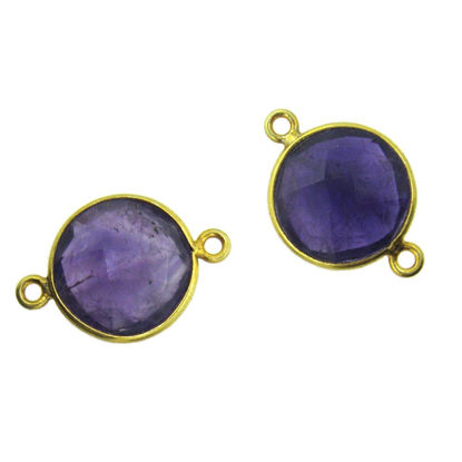 Wholesale Gold Over Sterling Silver Bezel Gemstone Link - Faceted Coin Shape - Natural Amethyst Quartz - February Birthstone