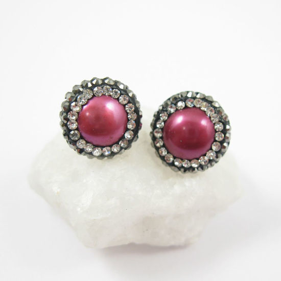 Wholesale Hot Pink Freshwater Pearl Pave Earring,  Sterling Silver Posts, Pearl and Pave Earrings - 1 pair