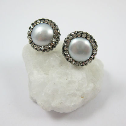 Wholesale Silver Freshwater Pearl Pave Earring, Sterling Silver Posts, Pearl and Pave Earrings - 1 pair