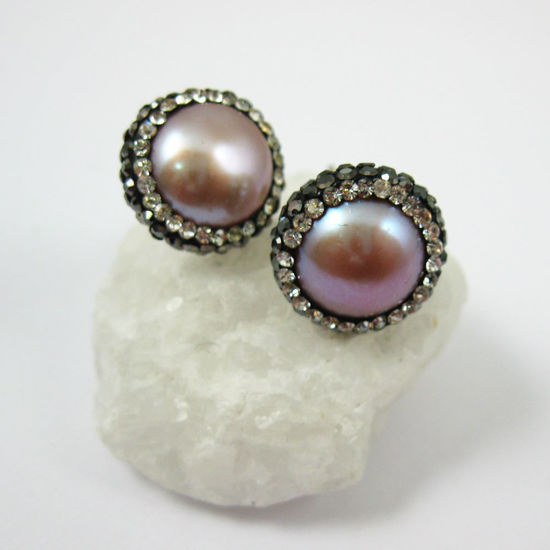 Wholesale Pink Freshwater Pearl Pave Earring, Sterling Silver Posts, Pearl and Pave Earrings - 1 pair
