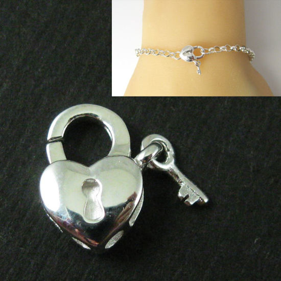 Wholesale Sterling Silver Heart Lock Lobster Clasp Charm (1 pc)