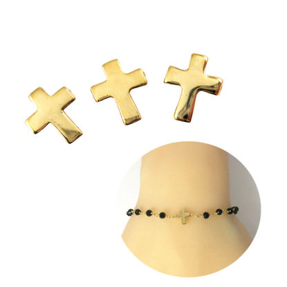 Wholesale Gold plated Sterling Silver Tiny Cross Connector Charms and Pendants for Jewelry Making, Wholesale Findings