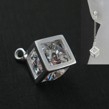 Wholesale Sterling Silver Cube Charm with CZ Cubic Zirconia Stone, Charms and Pendants for Jewelry Making, Wholesale Findings