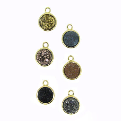 Wholesale Gold or Silver Plated Bezel Round Rainbow Titanium Druzy Charm