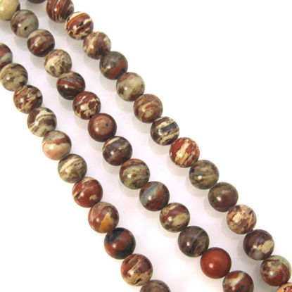 Wholesale Natural Brecciated Jasper Beads - 6mm Smooth Round (Sold Per Strand)