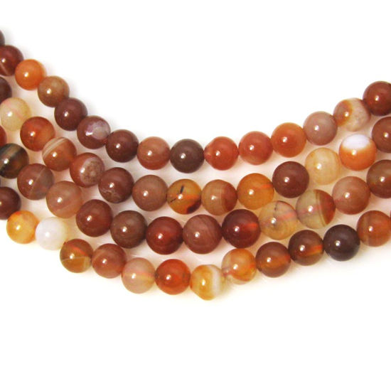 Wholesale Red Agate Beads - Smooth Round 6mm (Sold Per Strand)
