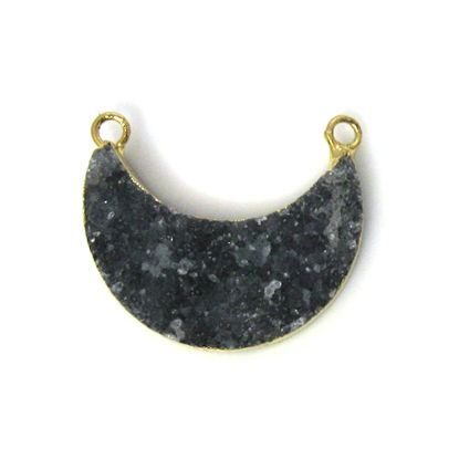 Wholesale Natural Druzy Agate Crescent Bar Pendant, Dark Grey Druzy Bar Connector, Half Moon Long Bar